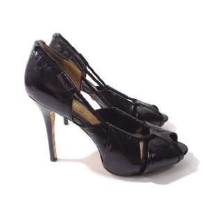 L.A.M.B. Shoes - L.A.M.B. Black Patent Leather Peep Toe Pumps Heels